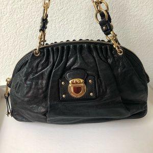 MARC JACOBS Black Pleated Leather Shoulder Bag